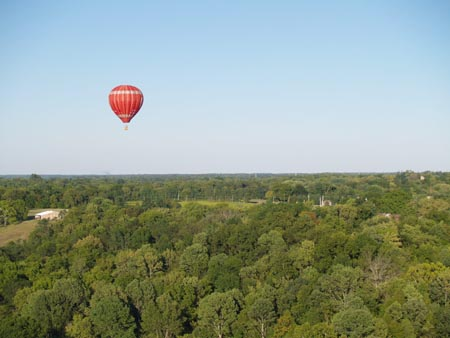 Floating in a hot air balloon in the Dayton area.