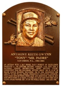 Tony Gwynn Hall of Fame Plaque